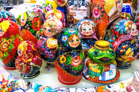 babushka: MOSCOW, RUSSIA - DECEMBER 11, 2015: traditional handmade Colorful Russian Nesting Dolls Matreshka in Central Childrens Store on Lubyanka. Matrioshka babushka are the most popular souvenir from Russia