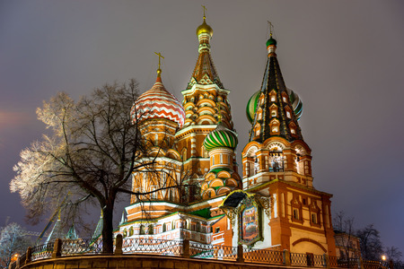 basils: St. Basils Cathedral, night, Moscow, Russia