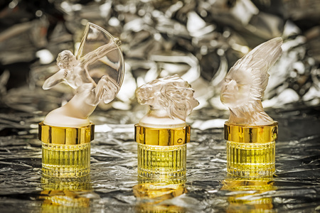 parfume: three parfume lalique bottles zodiac series: archer, lion and lady