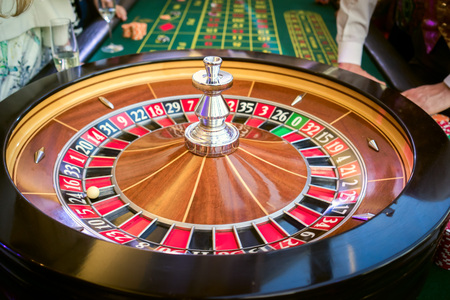 wheel spin: roulette table in casino