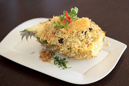 phuket food: rice with seafood served in a pineapple
