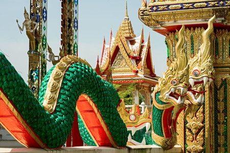 buddha head: Figures of three headed dragon at Wat Chalong temple, Phuket, Thailand