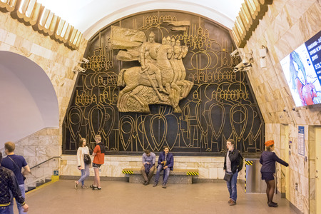 transition: St Petersburg, Russia - May 26, 2016: Ploshchad Alexandra Nevskogo (Saint Petersburg Metro). The transition between the stations in which the relief panel Alexander Nevsky is situated.