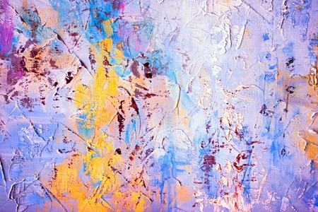 painted background: Colored brushstrokes in oil on canvas - hand painted background Stock Photo