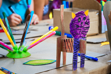 creativity: childrens creativity: colorful tiger made cardboard