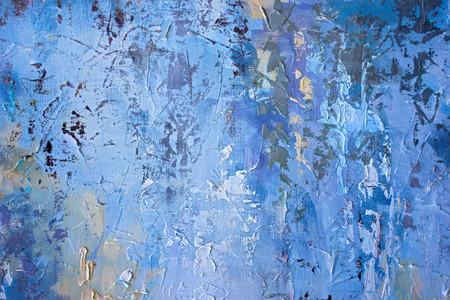 Dettaglio di olio tele dipinte in tonalità blu.