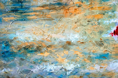 Abstract art background. Oil painting on canvas. Color texture. Fragment of artwork. Spots of oil paint. Brushstrokes of paint. Modern art.