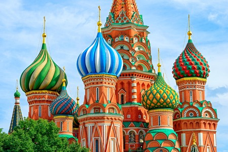 Domes of the famous Head of St. Basils Cathedral on Red square, Moscow, Russia