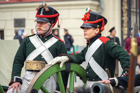 world war 1: Moscow, Russia - September 11, 2016: the celebration of 869 years of the city of Moscow. Historical reconstruction - two soldiers in uniform of World War 1 era are on Tverskaya street during festivals Editorial