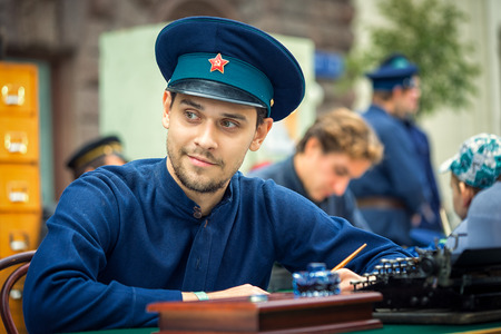 Moscow , Russia - September 11, 2016: Moscow City Day. Moscow residents and guests celebrate the 869 anniversary of the city. Performance on Tverskaya Street. Man from KGB in a uniform.