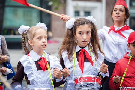 Moscow, Russia - September 11, 2016: Moscow City Day. Moscow residents and guests celebrate the 869 anniversary of the city. Performance on Tverskaya Street. Public-event. Pioneer drummer children. Editorial
