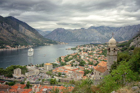 saint nicolas: Kotor bay and Old Town from Lovcen Mountain. Montenegro.