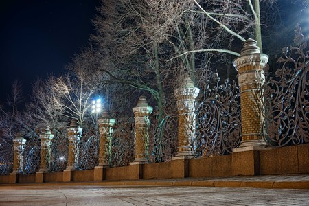 Night view of the fence of the Mikhailovsky Garden in the temple of Savior on Spilled Blood, St.Petersburg