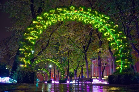 centenarian: Passion Boulevard, Moscow, Russia. Street decorations in the form of an light arches of sunflowers at night. Stock Photo