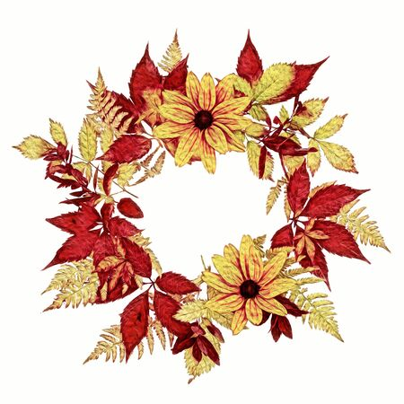 Picture of dingy autumn wreath of rudbeckia and pansies flowers, red and yellow grapes and fern leaves isolated on white background Stock Photo