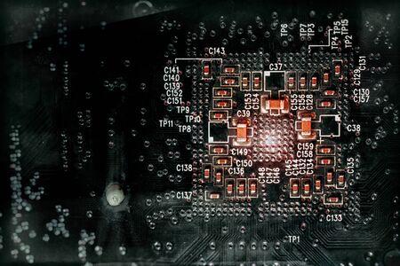 printed circuit: Aged old printed circuit board. Stock Photo