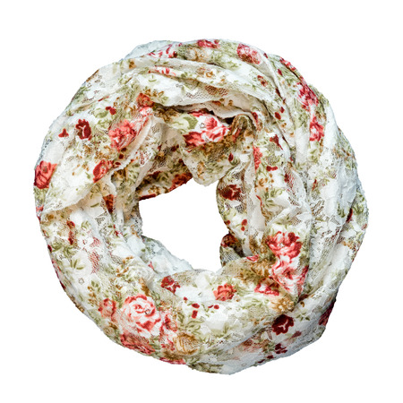 Silk floral scarf isolated on white