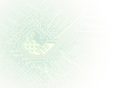 Technology concept microchip background with copy space. Pcb board integrated circuit pc parts motherboard chip processor. Light tones, faded into white.