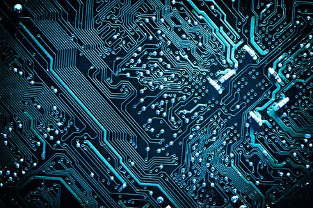 Leiterplatte. Elektronische Computer-Hardware-Technologie. Motherboard digitalen Chip. Tech Wissenschaft Hintergrund. Integrierte Kommunikationsprozessor. Informationstechnik-Komponente. Blaue Farbe.