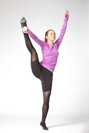 dactylology: Girl in violet and black sport clothes represents letter Y