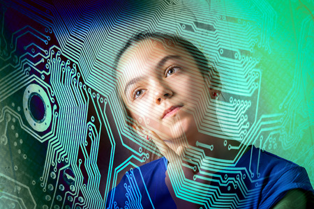 new generation: girl thoughtfully looking throw the motherboard silhouette, concept of informatics computer science new generation Stock Photo