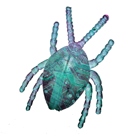 toy beetle, top view, with circuit board pattern, isolated on a white background. concept of computer threats and viruses.