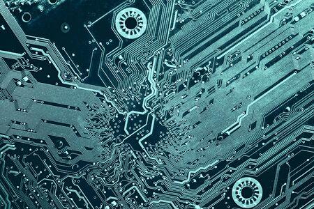 printed circuit: blue printed circuit board, top view