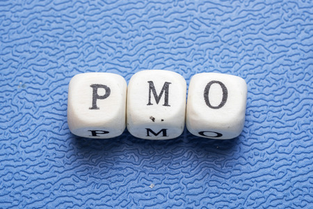 Word pmo (project management officer) on a wooden cubes on a blue background Stockfoto