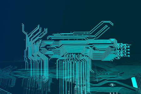 Abstract blue technology background with circuit board texture. High tech abstract background. Copy space for your text. Stock Photo