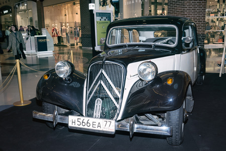 traction: Moscow, Russia - April 02, 2017: Citroen 11c, Traction Avant, France 1953. Retro car exibition in shopping mall Metropolis.