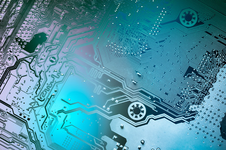information science: Circuit board. Electronic computer hardware technology. Motherboard digital chip. Tech science background. Integrated communication processor. Information engineering component.