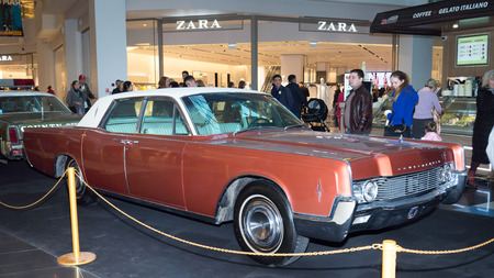 Moscow, Russia - April 02, 2017: Lincoln Continental, USA,1966. Retro car exibition in shopping mall Metropolis.