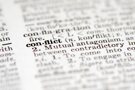 pronunciation: Definition of word conflict in dictionary