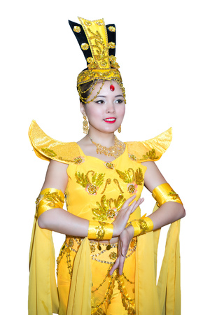 beautiful caucasian woman in a traditional chinese stage yellow dress Stock Photo