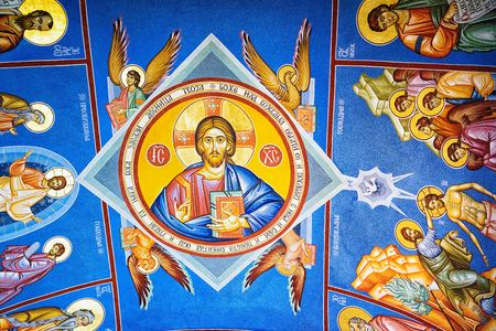 Perast, Montenegro - September 4, 2017: ceiling painting on the Roman Catholic Church of Our Lady of the Rocks, which is situated on the islet off the coast of Perast in Bay of Kotor, Montenegro.