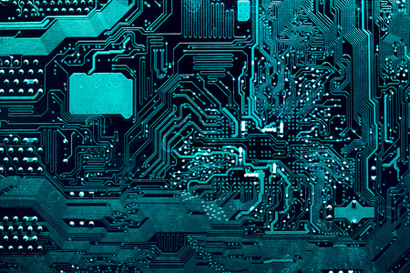 Dark background of the silhouette of the computer motherboard for the design of the companys IT site. Circuit board. Electronic computer hardware technology. Motherboard digital chip. Stock Photo