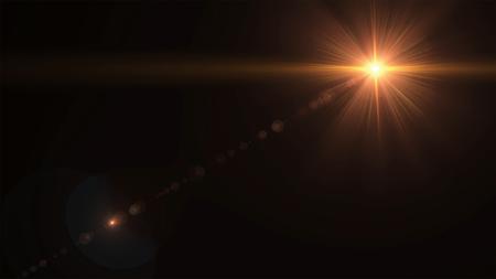 검정색 배경에 디지털 렌즈 플레어가있는 추상 태양 버스트