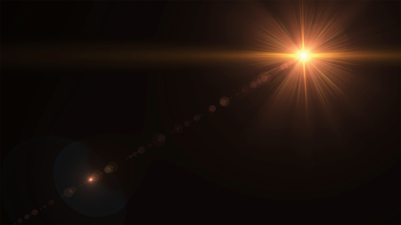 Abstract sun burst with digital lens flare on the black background Stock fotó - 88991657