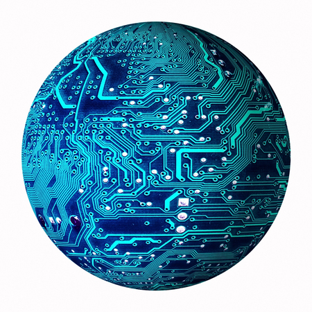 circuit board sphere isolated on white background