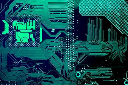 Leiterplatte. Elektronische Computerhardwarentechnologie. Motherboard digitaler Chip. Tech-Wissenschaft Hintergrund. Integrierter Kommunikationsprozessor. Informationstechnische Komponente. Standard-Bild - 89510294