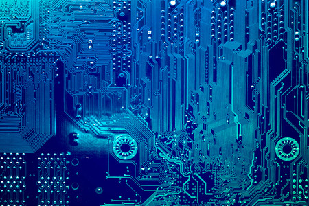 Circuit board. Electronic computer hardware technology. Motherboard digital chip. Tech science background. Integrated communication processor. Information engineering component. Stock Photo - 89623562
