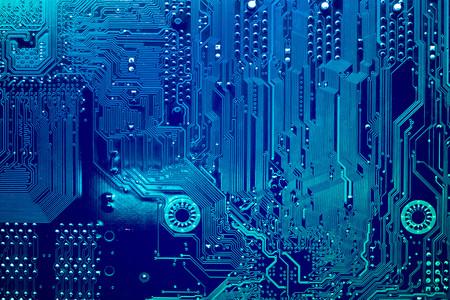 Leiterplatte. Elektronische Computerhardwarentechnologie. Motherboard digitaler Chip. Tech-Wissenschaft Hintergrund. Integrierter Kommunikationsprozessor. Informationstechnische Komponente.