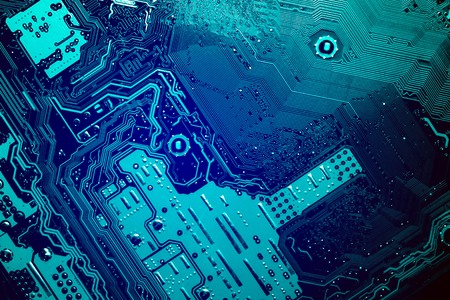 blue circuit board background of computer motherboard Stock Photo