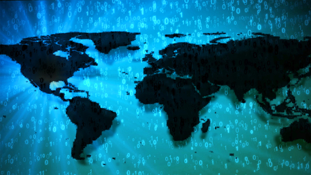 World map on blue digits 0 and 1 binary code. Dark continents with shadows and light flare right to left behind. Concept of informatization and the digital world, lens flare focus on America and USA. Stock Photo