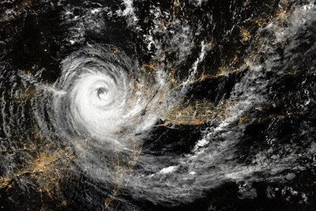 Hurricane, aerial view.