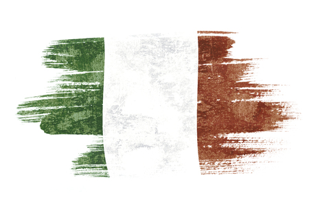 Art brush watercolor painting of Italy flag blown in the wind isolated on white background.