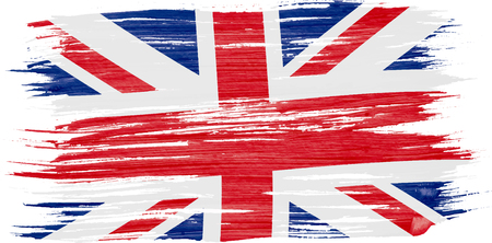 Art brush watercolor painting of UK flag blown in the wind isolated on white background. Illustration