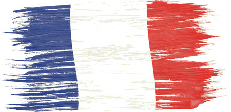 Art brush watercolor painting of France flag blown in the wind isolated on white background.