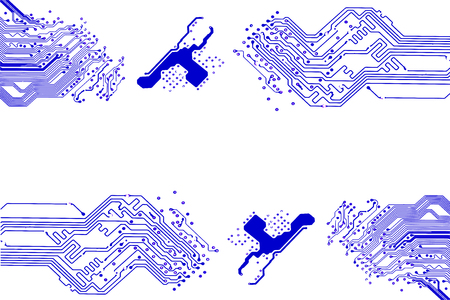 Microchip background with symmetrical motherboard pattern elements frame and copy space for your text. Ilustração