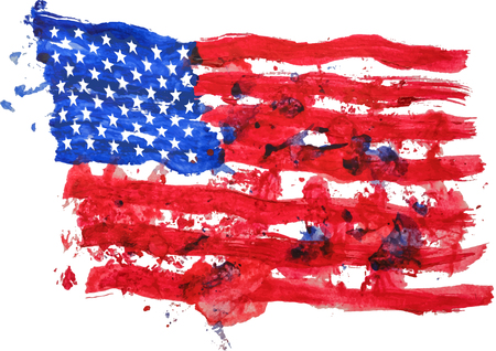 United states of America flag painted by hand and watercolors, esp 10 vector illustration 일러스트